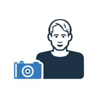 Camera man, photographer icon is isolated on white background. Simple vector illustration for graphic and web design.