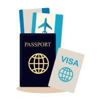 Traveller documents set in flat style design. Passport, visa, airplane tickets icon vector illustration. Preparing and planning summer vacation journey concept. Isoleted on white.